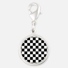 BLACK AND WHITE Checkered Pattern Charms