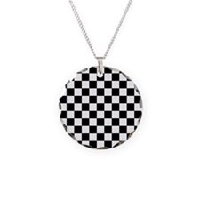 BLACK AND WHITE Checkered Pattern Necklace
