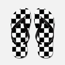 BLACK AND WHITE Checkered Pattern Flip Flops