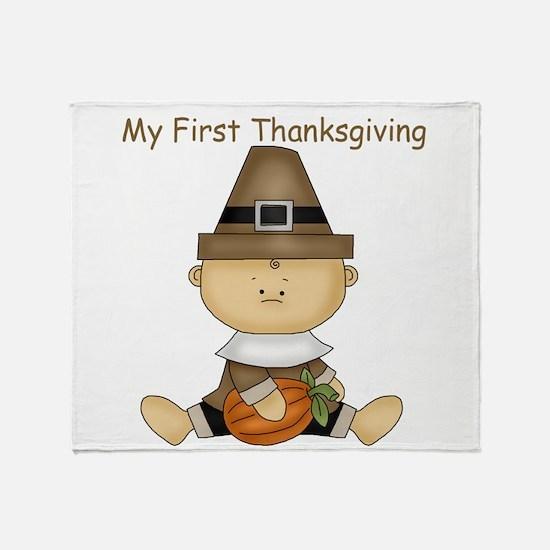 My First Thanksgiving - Baby Boy With Pumpkin Thro