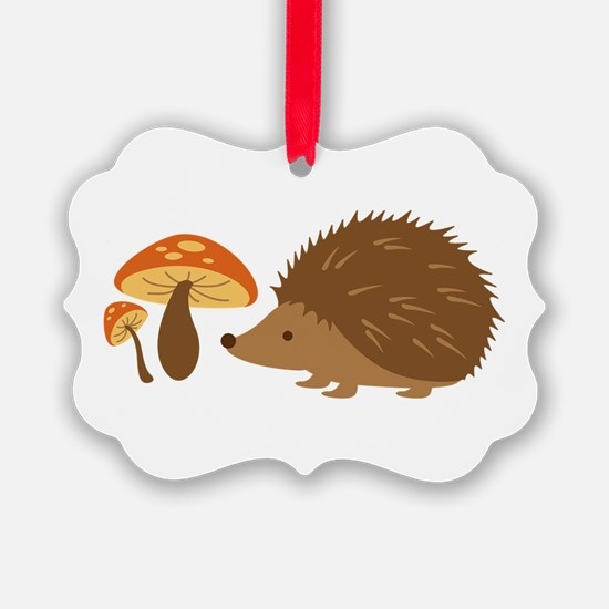 Hedgehog with Mushrooms Ornament