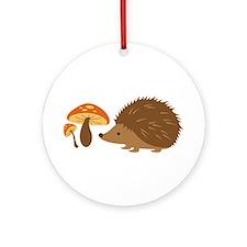 Hedgehog with Mushrooms Ornament (Round)
