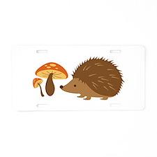 Hedgehog with Mushrooms Aluminum License Plate