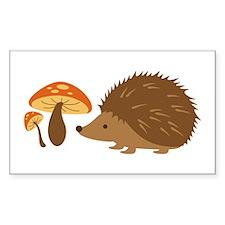 Hedgehog with Mushrooms Decal