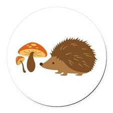 Hedgehog with Mushrooms Round Car Magnet