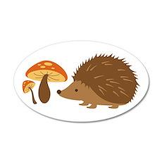 Hedgehog with Mushrooms Wall Decal