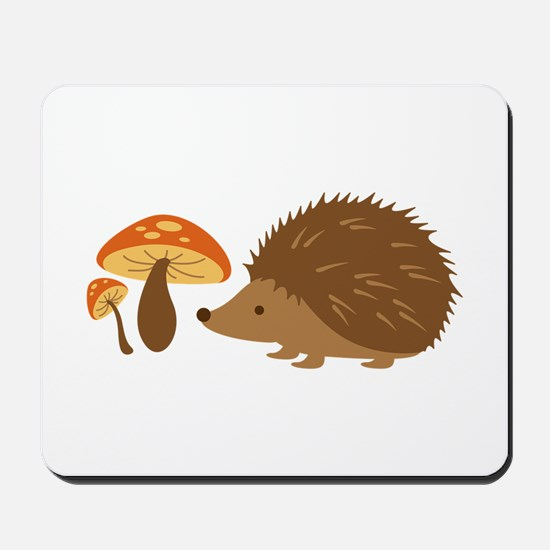 Hedgehog with Mushrooms Mousepad