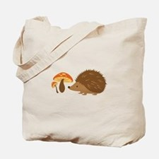 Hedgehog with Mushrooms Tote Bag