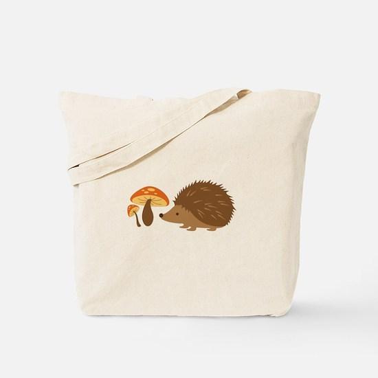 Hedgehog with Mushrooms Tote Bag