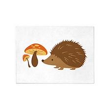 Hedgehog with Mushrooms 5'x7'Area Rug