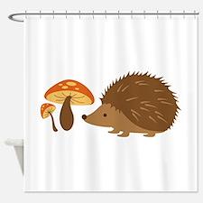 Hedgehog with Mushrooms Shower Curtain
