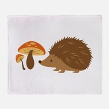 Hedgehog with Mushrooms Throw Blanket