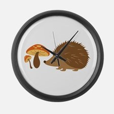 Hedgehog with Mushrooms Large Wall Clock
