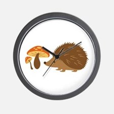 Hedgehog with Mushrooms Wall Clock