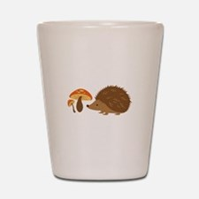 Hedgehog with Mushrooms Shot Glass