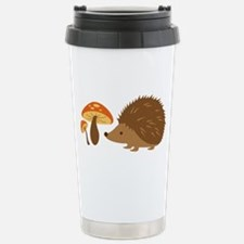 Hedgehog with Mushrooms Travel Mug