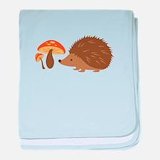 Hedgehog with Mushrooms baby blanket