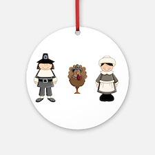 Thanksgiving - Pilgrim and Turkey Ornament (Round)