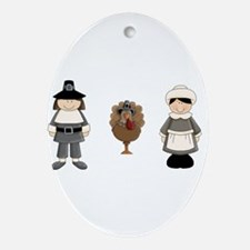 Thanksgiving - Pilgrim and Turkey Ornament (Oval)