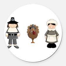 Thanksgiving - Pilgrim and Turkey Round Car Magnet