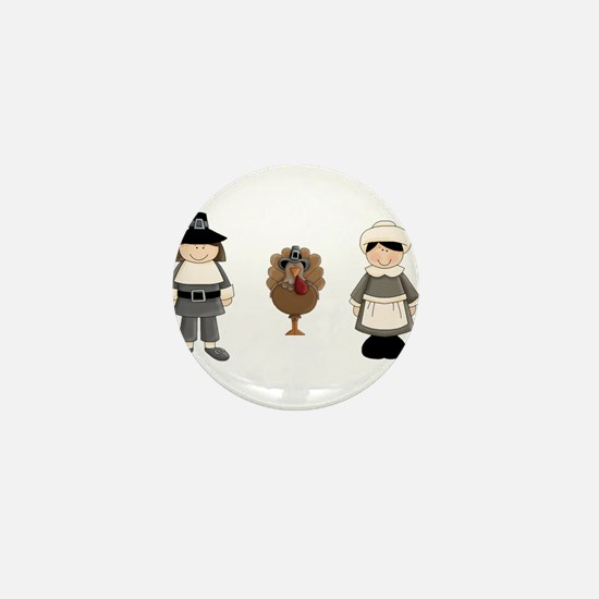 Thanksgiving - Pilgrim and Turkey Mini Button (10
