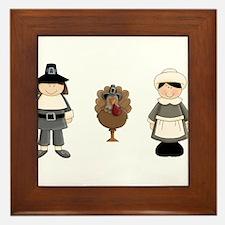 Thanksgiving - Pilgrim and Turkey Framed Tile