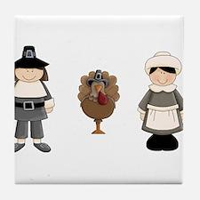 Thanksgiving - Pilgrim and Turkey Tile Coaster