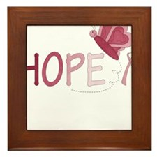 HOPE Butterfly Pink Ribbon Framed Tile