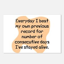 Everyday I beat record Postcards (Package of 8)