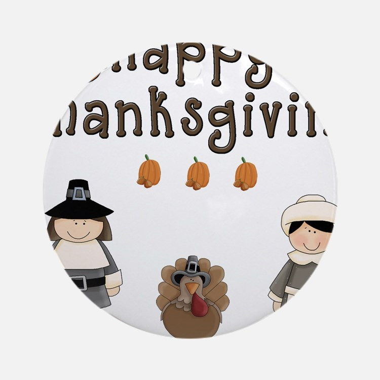 Happy Thanksgiving Pilgrims and Turkey Ornament (R
