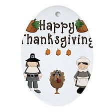 Happy Thanksgiving Pilgrims and Turkey Ornament (O