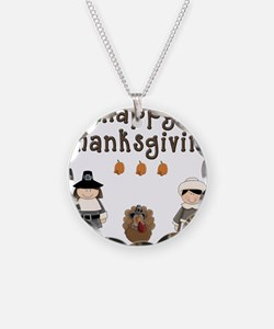 Happy Thanksgiving Pilgrims and Turkey Necklace