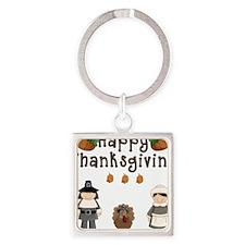 Happy Thanksgiving Pilgrims and Turkey Keychains