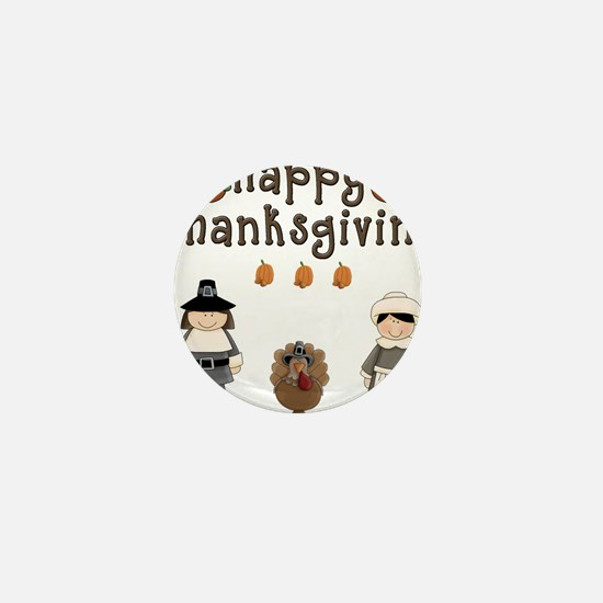 Happy Thanksgiving Pilgrims and Turkey Mini Button