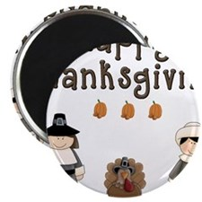 Happy Thanksgiving Pilgrims and Turkey Magnets