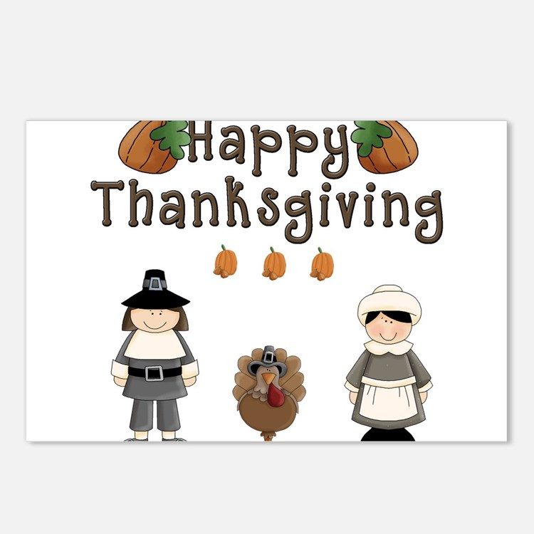 Happy Thanksgiving Pilgrims and Turkey Postcards (