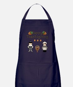 Happy Thanksgiving Pilgrims and Turkey Apron (dark