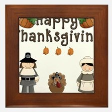 Happy Thanksgiving Pilgrims and Turkey Framed Tile