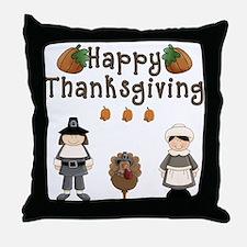 Happy Thanksgiving Pilgrims and Turkey Throw Pillo