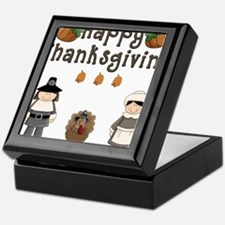 Happy Thanksgiving Pilgrims and Turkey Keepsake Bo