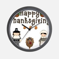Happy Thanksgiving Pilgrims and Turkey Wall Clock