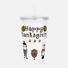 Happy Thanksgiving Pilgrims and Turkey Acrylic Dou