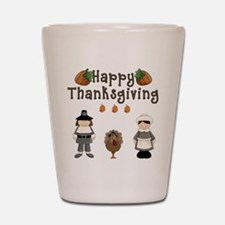 Happy Thanksgiving Pilgrims and Turkey Shot Glass