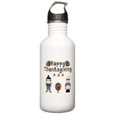 Happy Thanksgiving Pilgrims and Turkey Water Bottl