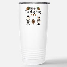 Happy Thanksgiving Pilgrims and Turkey Travel Mug