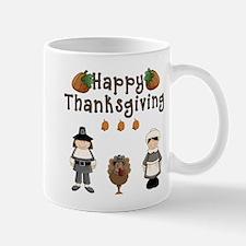 Happy Thanksgiving Pilgrims and Turkey Mugs