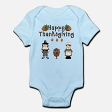 Happy Thanksgiving Pilgrims and Turkey Body Suit