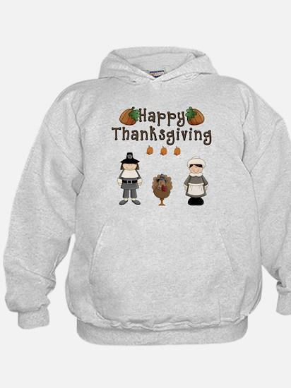 Happy Thanksgiving Pilgrims and Turkey Hoodie