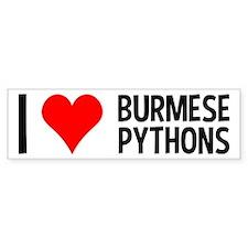 I Love Burmese Pythons Bumper Bumper Sticker