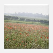 Poppies In Evening Mist Tile Coaster